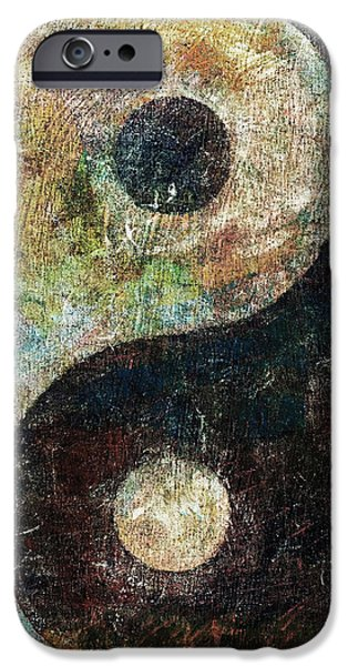 Texture Paintings iPhone Cases - Yin and Yang iPhone Case by Michael Creese