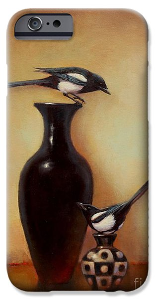 Yin Paintings iPhone Cases - Yin Yang - Magpies  iPhone Case by Lori  McNee