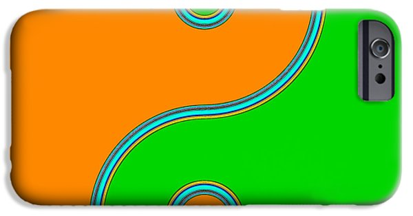 Recently Sold -  - Buddhism iPhone Cases - Yin Yang orange green pop art iPhone Case by Eti Reid