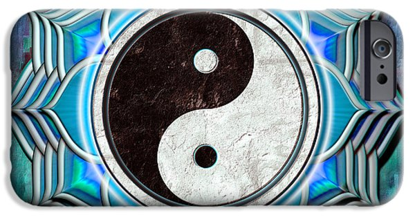 Yin iPhone Cases - Yin Yang - The healing of the blue chakra. iPhone Case by Dirk Czarnota