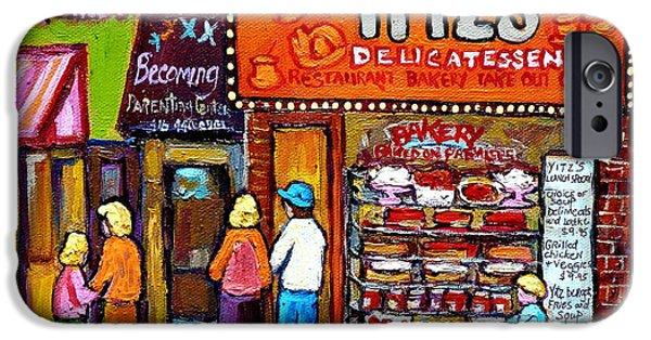 Toy Store iPhone Cases - Yitzs Deli Toronto Restaurants Cafe Scenes Paintings Of Toronto Landmark City Scenes Carole Spandau  iPhone Case by Carole Spandau