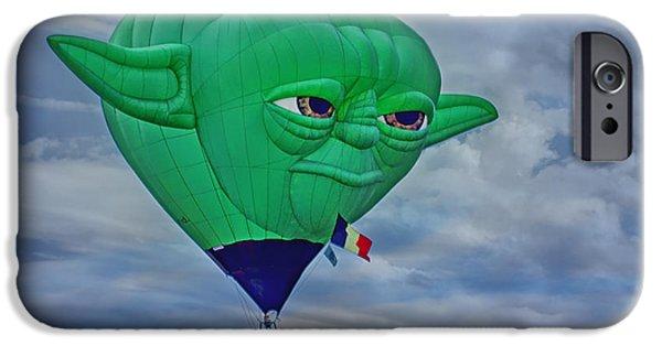 Fictional Star iPhone Cases - Yoda - Hot Air Balloon iPhone Case by Nikolyn McDonald