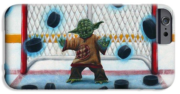 Hockey Paintings iPhone Cases - Yoda Saves Everything iPhone Case by Marlon Huynh