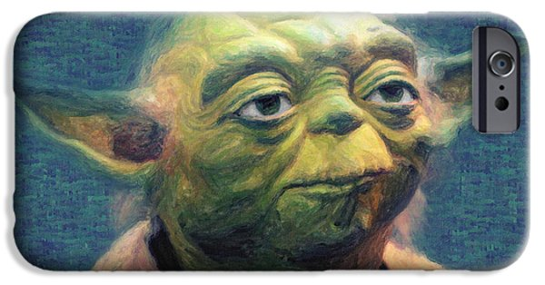 Galactic Paintings iPhone Cases - Yoda iPhone Case by Taylan Soyturk