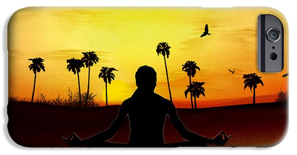 Young Mixed Media iPhone Cases - Yoga At Sunrise iPhone Case by Bedros Awak