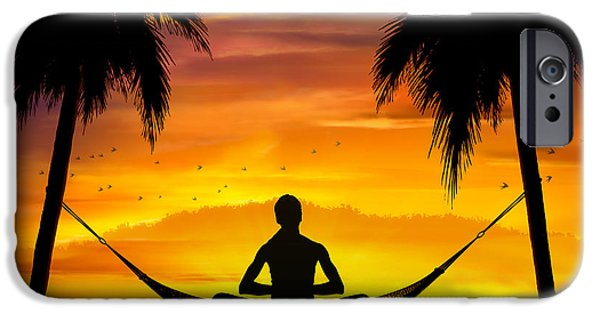Bedros Mixed Media iPhone Cases - Yoga At Sunset iPhone Case by Bedros Awak