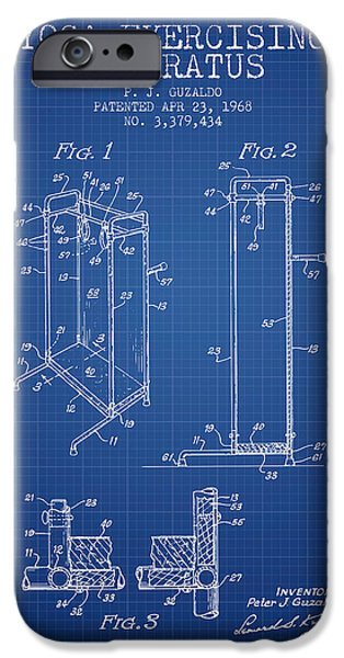 Yoga iPhone Cases - Yoga Exercising Apparatus patent from 1968 - Blueprint iPhone Case by Aged Pixel