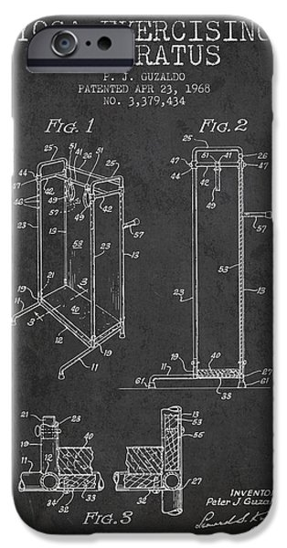 Yoga iPhone Cases - Yoga Exercising Apparatus patent from 1968 - Charcoal iPhone Case by Aged Pixel