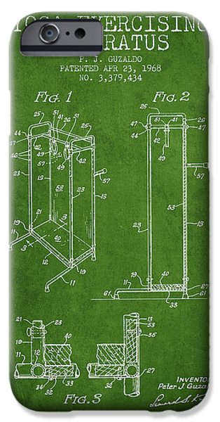 Yoga iPhone Cases - Yoga Exercising Apparatus patent from 1968 - Green iPhone Case by Aged Pixel