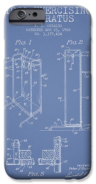 Yoga iPhone Cases - Yoga Exercising Apparatus patent from 1968 - Light Blue iPhone Case by Aged Pixel