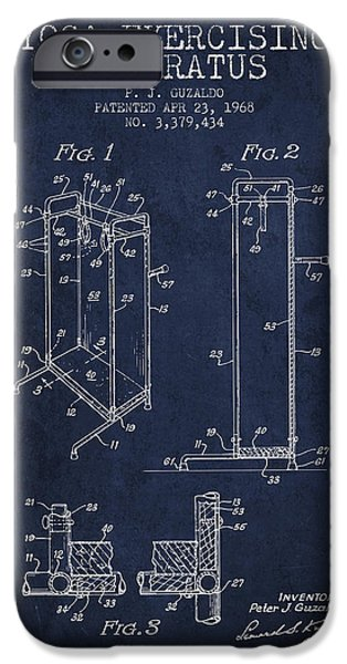 Yoga iPhone Cases - Yoga Exercising Apparatus patent from 1968 - Navy Blue iPhone Case by Aged Pixel