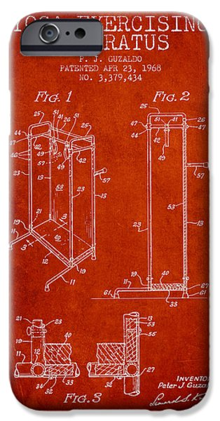 Yoga iPhone Cases - Yoga Exercising Apparatus patent from 1968 - Red iPhone Case by Aged Pixel