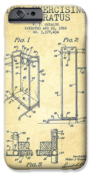 Yoga iPhone Cases - Yoga Exercising Apparatus patent from 1968 - Vintage iPhone Case by Aged Pixel