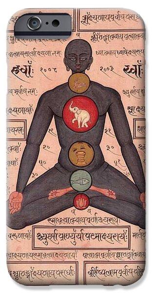 Tantrik Art iPhone Cases - Yoga Kundalini Meditation Painting Art Work Painting India iPhone Case by A K Mundhra