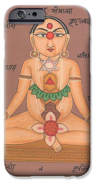 Tantrik Art iPhone Cases - Yoga Yogi Kundalini Meditation Chakra Vedic Artwork Handmade Painting Artist Art Gallery  iPhone Case by A K Mundhra