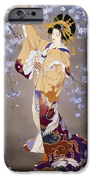 Evening Digital Art iPhone Cases - Yoi iPhone Case by Haruyo Morita