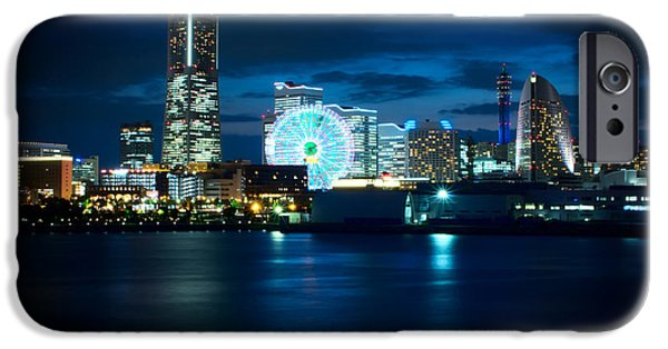 Buildings By The Ocean iPhone Cases - Yokohama Minatomirai at Night iPhone Case by Beverly Claire Kaiya