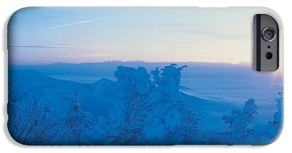 Snowy Day iPhone Cases - Yokoteyama At Sunrise Shiga Kogen iPhone Case by Panoramic Images