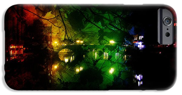 Mounds Mixed Media iPhone Cases - York River Night Abstract iPhone Case by Neil Finnemore