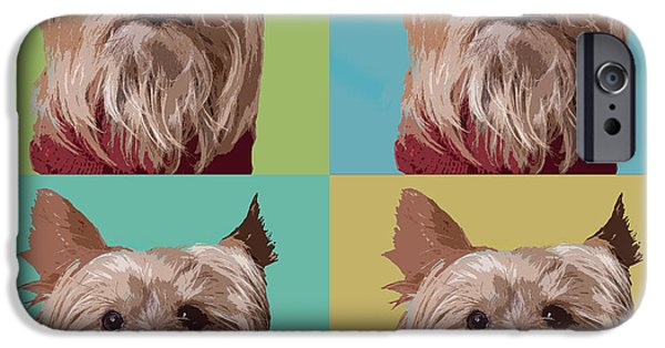 Yorkshire Terrier Art iPhone Cases - Yorkie Times Four iPhone Case by Susan Stone