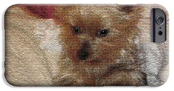 Dogs Digital Art iPhone Cases - Yorkiehood iPhone Case by Betty LaRue