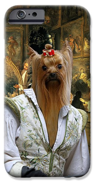 Yorkshire Terrier Art iPhone Cases - Yorkshire Terrier Art - At the artdealers shop iPhone Case by Sandra Sij
