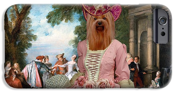 Yorkshire Terrier Art iPhone Cases - Yorkshire Terrier Art - Dancing at the fountain iPhone Case by Sandra Sij