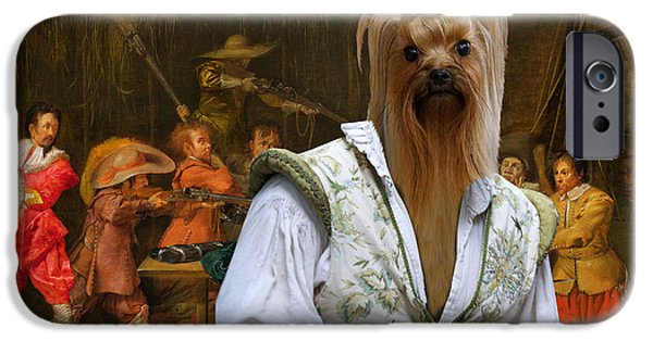 Yorkshire Terrier Art iPhone Cases - Yorkshire Terrier Art - Soldiers fighting over Booty in a Barn iPhone Case by Sandra Sij