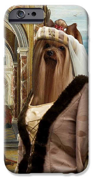 Yorkshire Terrier Art iPhone Cases - Yorkshire Terrier Art - The Courtyard of a Renaissance Palace iPhone Case by Sandra Sij