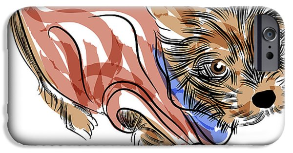 Puppy Digital Art iPhone Cases - Yorkshire Terrier iPhone Case by John Takai