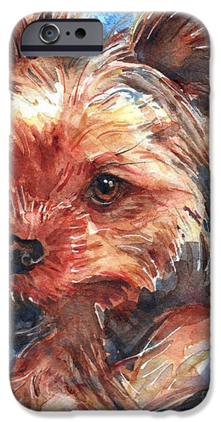 Yorkshire Terrier Art iPhone Cases - Yorkshire Terrier iPhone Case by Maria