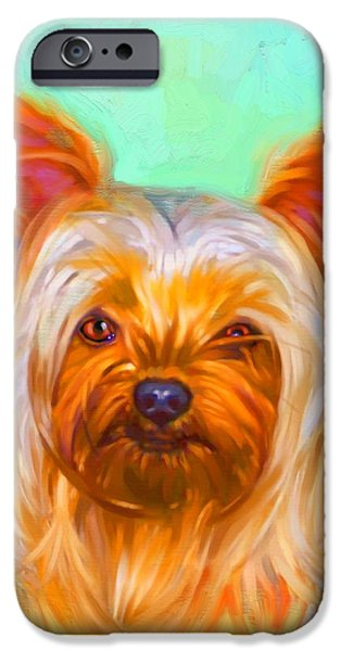 Cute Puppy Pictures Digital Art iPhone Cases - Yorkshire Terrier Painting iPhone Case by Iain McDonald