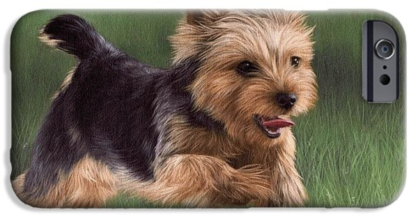 Yorkshire Terrier Art iPhone Cases - Yorkshire Terrier Painting iPhone Case by Rachel Stribbling