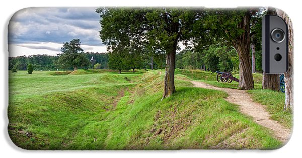Yorktown Virginia iPhone Cases - Yorktown Battlefield Earthworks iPhone Case by John Bailey
