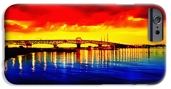 Yorktown Virginia iPhone Cases - Yorktown Bridge Sunset iPhone Case by Bill Cannon