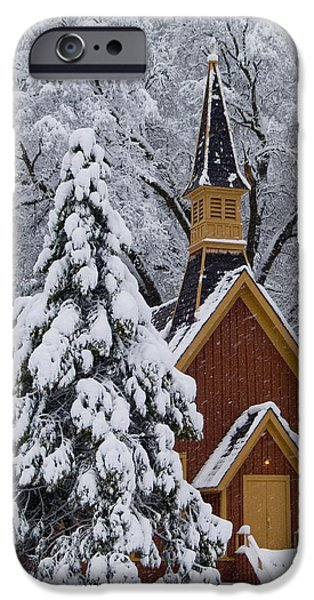 Bill Gallagher Photographs iPhone Cases - Yosemite Chapel iPhone Case by Bill Gallagher