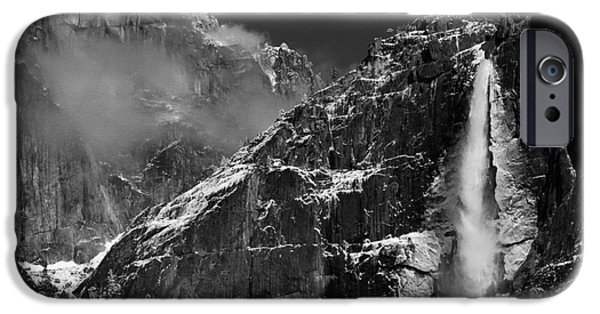 Yosemite National Park iPhone Cases - Yosemite Falls in Black and White iPhone Case by Bill Gallagher