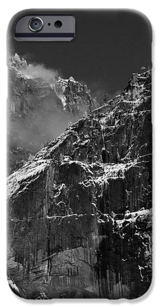 Yosemite Falls in Black and White iPhone Case by Bill Gallagher