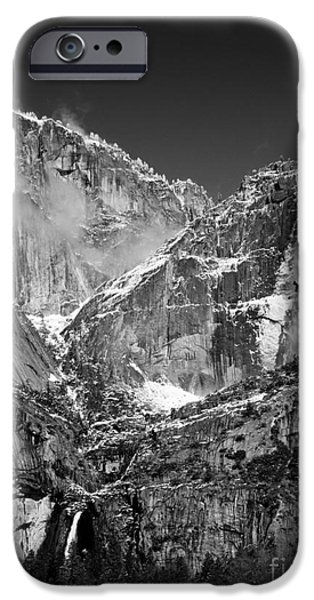 Bill Gallagher iPhone Cases - Yosemite Falls in Black and White II iPhone Case by Bill Gallagher