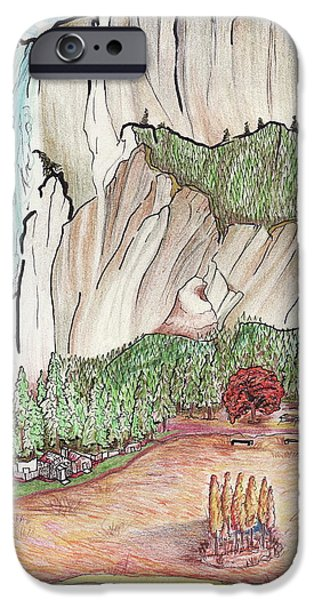 Fall Scenes Drawings iPhone Cases - Yosemite Falls iPhone Case by Merrily McCarthy