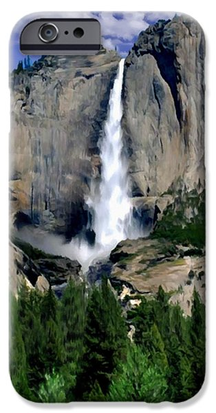 Half Dome Paintings iPhone Cases - Yosemite Falls National Park iPhone Case by  Bob and Nadine Johnston