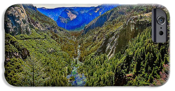 Cathedral Rock iPhone Cases - Yosemite looking down the Merced River iPhone Case by  Bob and Nadine Johnston