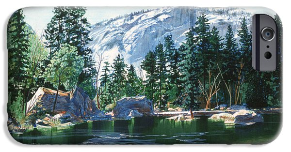 Half Dome Paintings iPhone Cases - Yosemite Mirror Lake iPhone Case by Lynn Hansen