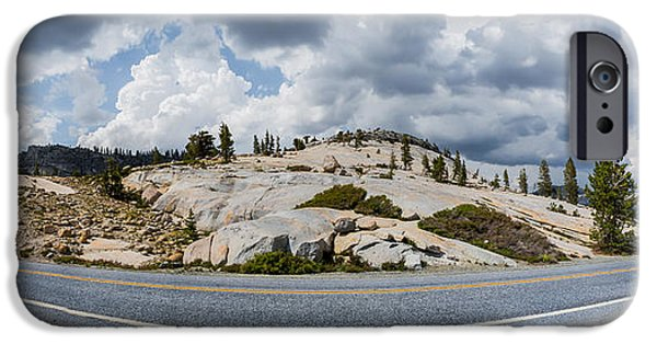 California Tourist Spots iPhone Cases - Yosemite Mountain Highway iPhone Case by Jerome Obille
