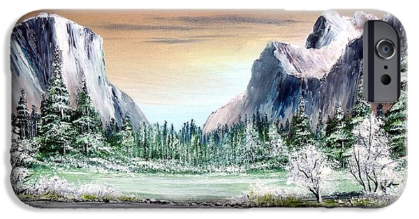 Fall Of River Paintings iPhone Cases - Yosemite Valley Artist Point iPhone Case by Bill Holkham