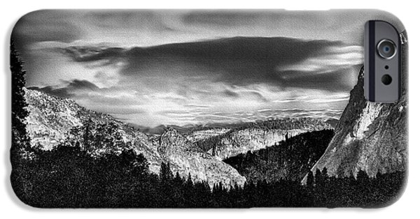 Cathedral Rock Mixed Media iPhone Cases - Yosemite Valley Black and White iPhone Case by  Bob and Nadine Johnston
