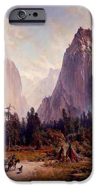 Park Scene Drawings iPhone Cases - Yosemite Valley iPhone Case by Thomas Hill