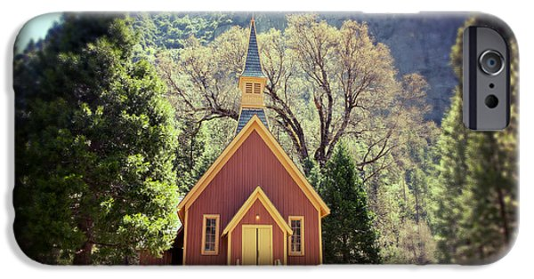 Worship iPhone Cases - Yosemite Valley Chapel lomo iPhone Case by Jane Rix