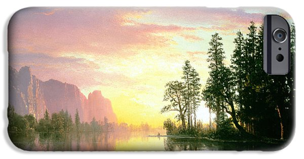 Californian iPhone Cases - Yosemite Valley Oil On Canvas iPhone Case by Albert Bierstadt