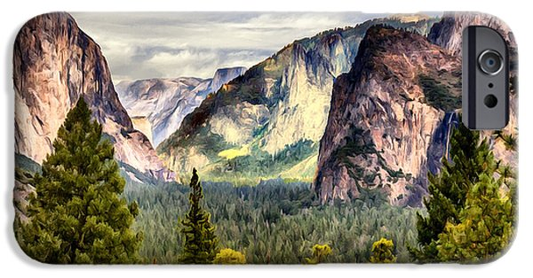 Cathedral Rock iPhone Cases - Yosemite Valley Painting Tunnel View iPhone Case by  Bob and Nadine Johnston